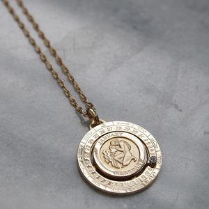 Pierre Cardin Aquarius Zodiac Medallion Necklace
